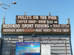 Polly's on the Pier (gregwake) Tags: california ca wood sea usa sign fence coast us seaside cafe gate paint coffeeshop polly westcoast redondobeach paid pollys