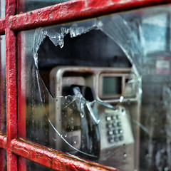 Disconnected (Andrew Lockie) Tags: red glass square bay scotland highlands phone box telephone vandal vandalism damage kiosk smashed sanna callbox ardnamurchan fractured requiemforaredbox panasonicgx1