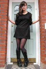 (iii) Day 37 - little black dress (can't stop the beek) Tags: door portrait brick london girl fashion self creative doorway 365 brunette hm littleblackdress selfie
