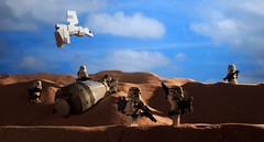 """Look sir, droids!"" (Blockaderunner) Tags: star pod sand escape lego craft class landing imperial wars sentinel tatooine sandtrooper"