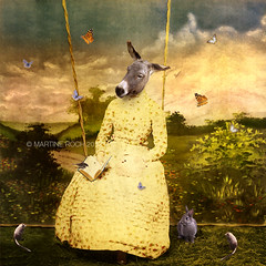 The reader (Martine Roch) Tags: portrait cute rabbit bird animals butterfly garden book rat antique adorable butterflies donkey surreal sparrow manray martineroch flypapertextures