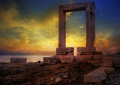 Sunset through the Portara (Temple of Apollo) (h_roach) Tags: travel horizontal island ruins mediterranean greece chora templeofapollo blueribbonwinner portara naxostown