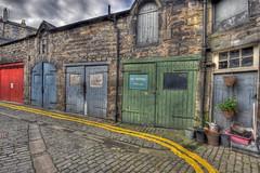 West Scotland Street Lane garages (elementalPaul) Tags: blue red green yellow scotland edinburgh pentax lane cobbles newtown hdr yellowlines photomatixpro 5xp k10d pentaxk10d westscotlandstreetlane