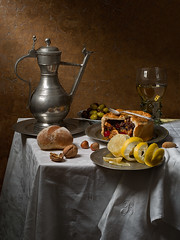 Still Life with Fruit Pie (after Pieter Claesz) (kevsyd) Tags: stilllife lemon roemer fruitpie pieterclaesz 645d pewterjug kevinbest