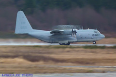 A Navy C-130T A Long Way From Home... (AvgeekJoe) Tags: plane airplane aviation condensation vapor turboprop vortices vaportrail watervapor vortice revelers vape c130t vr54 c130thercules lockheedc130thercules aircraftcondensation vr54revelers cargoturboprop