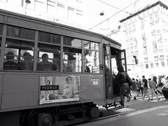 tram (Lorenzo Giunchi) Tags: street people blackandwhite bw milan building girl milano tram blackanwhite