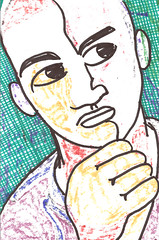 pensive (giveawayboy) Tags: man art drawing marker pensive