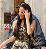 Tulisa Contostavlos outside the BBC Radio One studios London, England