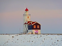 To the lighthouse (Frans.Sellies) Tags: winter lighthouse snow cold holland ice netherlands dutch iceage buildings geotagged faro seasons nederland coldweat
