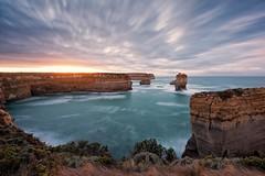 Lock Ard Sunrise (The Waterboy) Tags: longexposure water rock sunrise waves limestone greatoceanroad stacks razorback lockard