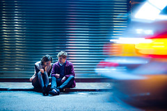 Roadside (TGKW) Tags: light boy portrait people woman man motion reflection girl car night michael moving movement driving sitting pavement candid trails hong kong jana nightlife roadside wan sheung 6193