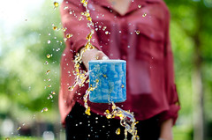 (Alana Steinberg) Tags: blue red shirt stars tea bokeh mug lf splash