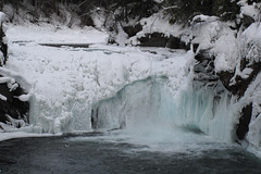 Overlander Falls in winter (lmainjohnson7) Tags: mist snow canada ice nature water river waterfall britishcolumbia fraserriver overlanderfalls icecicles mtrobsonpark upperfraser