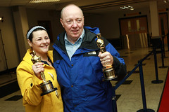 Oorlagh and Terry George at Belfast International Airport with the winning Oscars in the Live Action Short Film category for their film The Shore (Northern Ireland Executive) Tags: theshore terrygeorge carlnichuiln oscars2012 oorlaghgeorge dcalniscreen
