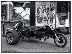 Big Boys Toy (rubyblossom.) Tags: old bw bike shop tattoo town chopper software hastings flicker topaz rubyblossom rubystreasures
