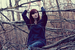 KAYLA (lauren s_) Tags: park autumn trees fall girl canon outside 50mm model pretty branches redhead twigs