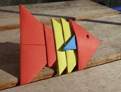 Tangrami Fish (Schmasipopasi) Tags: blue red fish rot yellow paper 3d origami craft fisch gelb modular blau papier papercraft paperwork basteln falttechnik tangrami