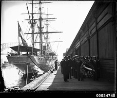 Procession of Chilean sailors alongside their ship GENERAL BAQUEDANO at East Circular Quay, 24 July 1931