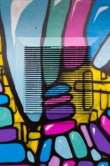 Colourful Grid (Alf Myers - AlfaGraphy) Tags: urban detail art vent grid graffiti pattern preston theshipinn reasm
