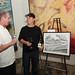 Judge Chef Joe Miller of Joe's and Bar Pintxo with 4 on 4 LA First Runner-up Winner Artist Mark Dean Veca and his artwork, \