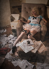 What the papers said must be true. (l_hughes94) Tags: old boy red plants house news abandoned ariel water pool girl up hair balloons newspaper costume russell dress little alice surrealism tail documentary floating peterpan disney dirty peter drugs damage pan rough mermaid wonderland derelict aliceinwonderland thelittlemermaid