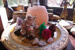 A little hippie shrine of mine (elfstaceo) Tags: rose rock peace crystal buddha salt hippy hippie amethyst boho quartz