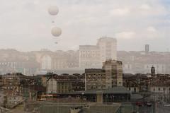 Hot-air balloon (martina camporelli) Tags: city sky inspiration clouds torino mood cityscape doubleexposure balloon hotairballoon turin urbanlandscape urbanlife urbex