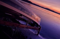 The Lake is losing its cover and will be warm in few short moments. (ShinzonTme) Tags: winter sunset cold ice beautiful frozen frozenlake