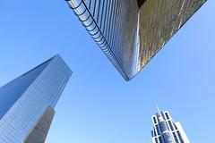 The sky above Rotterdam (Jan van der Wolf) Tags: blue roof sky reflection building architecture composition silver rotterdam blauw perspective centraalstation architectuur gebouw dak reflectie gebouwen frogperspective spiegeling perspectief compositie map139131v