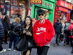 Coke Couple (Silver Machine) Tags: street boy london girl sunglasses walking couple chinatown phone outdoor candid streetphotography streetportrait coke canoneos canon600d candideyecontact canonef50mmf18stm