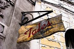 restaurant signpost (KarolMIlosB) Tags: chile santiago urban sign restaurant madera tales antique restaurante centro bistro retro aviso local signpost concha letrero signboard barrio toro antiguo