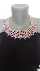 Pink crochet beaded necklace (MaxMixShop) Tags: crochet fashionjewelry beadednecklace crochetnecklace fibernecklace