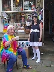 photo1651 (melissawhitaker503) Tags: street woman cup girl hat shop bright display tea weekend main clothes 1960s haworth