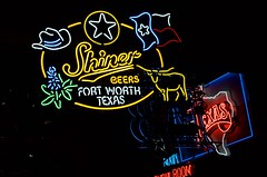 Shiner beers (dangr.dave) Tags: fortworth tx texas cowtown tarrantcounty panthercity downtown historic architecture neon neonsign stockyards billybobs shiner cowboyhat flag bluebonnet longhorn