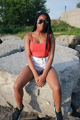 (cassandra.frater) Tags: summer toronto ontario water girl sunglasses fashion fun rocks pretty lakeshore boardwalk blackout blackgirl blackgirls melanin ootd boxbraids