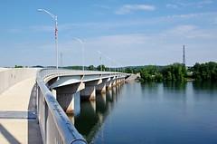 74/100 ~ Arch Street Bridge (Stephanie Calhoun Photography) Tags: bridge water pa walkway williamsport 74 lightposts susquehannariver usaflags 100project stephaniecalhoun