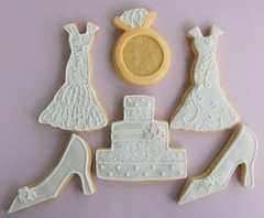 Wedding Cookies for Alyssa (Three Honeybees) Tags: wedding cookies cake shoe dress ring icing fondany