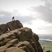 Climber on top of Valkyrie at the Roaches