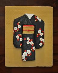 Kimono Cake_Front Facing (Kathy-Cakes) Tags: flowers red white black cake with kimono blackkimono kimonocake