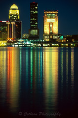Louisville at Night (John Cothron) Tags: 35mm canon cothronphotography eos3 fallsoftheohiostatepark fujivelvia50 jeffersoncounty johncothron kentucky louisville ohioriver rvp50 cityscape creek film flowing freshwater lights nature nightshot outdoor reflection river skyline stream summer water ky usa 35002803000601 johncothron