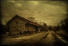 Movin On Down The Line (dsfdawg) Tags: old railroad abandoned station clouds yard rural train ga georgia rust tate decay south country rustic rail historic southern forgotten depot weathered passenger hdr highdynamicrange gravel textured oldsouth dsfotography dsfdawg