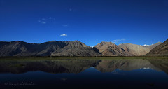 Nubra Valley in a Reflection (Sayid Budhi) Tags: blue india mountains reflection scenic bluesky himalaya jk ladakh nubravalley hunder disket northindia hundar travelphotography jammuandkashmir landscapephotography diskit deskit mountainreflection northladakh nubravalle