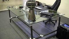 Pipe Desk with Glass Top