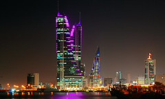 Bahrain Financial Harbour [Explore Feb15, 2012] (Sarfraz Abbasi) Tags: night lights bahrain nikon middleeast kitlens 1855mm manama goldtone d3000