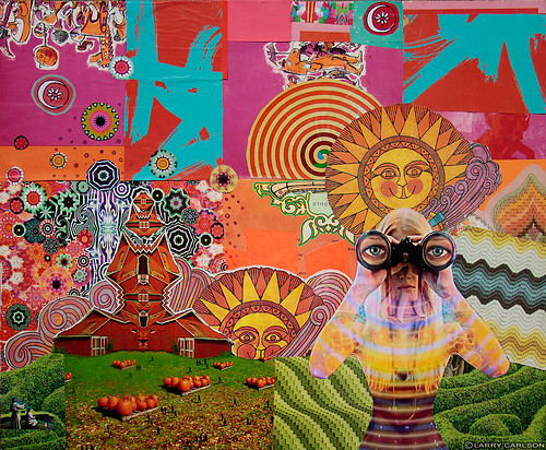 LARRY CARLSON, Sun of the Orange Morning, collage, digital prints, and arcylic paint on wooden board, 26x24in., 2010.