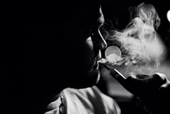 Silhouette (Self Portrait) (T.D.S. Photography) Tags: portrait selfportrait beard photography photo blackwhite nikon candid smoke pipe smoking d200 nikkor dslr smoker tobacco pipesmoker