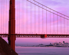 Underscore (RZ68) Tags: city bridge pink light sunset sky color tower film water skyline sunrise buildings t dawn lights golden bay kirby gate colorful long exposure cove pastel no marin north battery velvia headlands 6x7 provia wagner ggnra e100 rz68