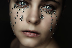 Diamond Tears (Lou Bert) Tags: woman selfportrait art girl face diamonds sad crying tear jewel laurenbatesphotography