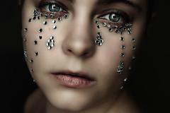Diamond Tears (Lou Bert) Tags: woman selfportrait art girl face diamonds sad crying tear jewel laurenbatesphotography