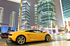 Let The Party Begin (This will do) Tags: china car yellow night automobile shanghai lamborghini supercar gallardo lambo worldcars lp5604